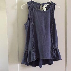 GAP Boho Sleeveless Top - Cute Distressed Blue